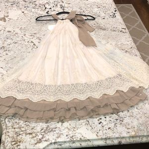 Empire lace cream colored dress fully lined